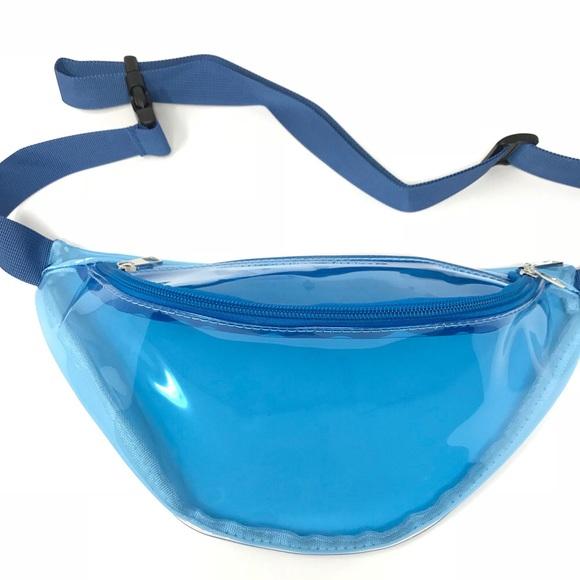 aa0aafb781f1 Clear Blue Fanny Pack Polyurethane Mini Bag Boutique